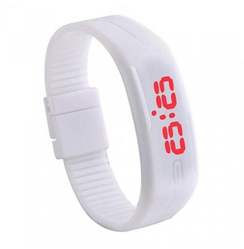 Đồng hồ LED silicon kiêm vòng tay thời trang - Trắng