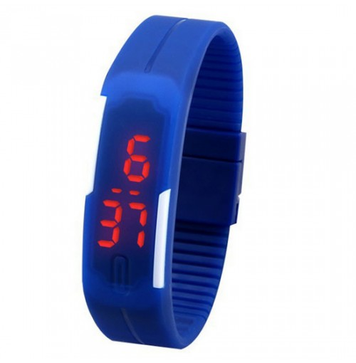 Đồng hồ LED silicon kiêm vòng tay thời trang - Xanh thẫm