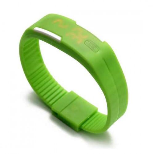 Đồng hồ LED silicon kiêm vòng tay thời trang - Xanh lá