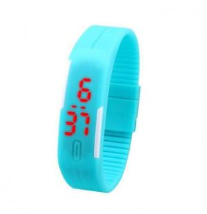 Đồng hồ LED silicon kiêm vòng tay thời trang - Xanh biển