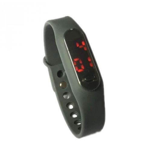 Đồng hồ LED mặt kính mini dây Silicon kiêm vòng tay thời trang - Đen
