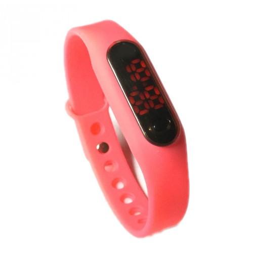 Đồng hồ LED mặt kính mini dây Silicon kiêm vòng tay thời trang - Hồng
