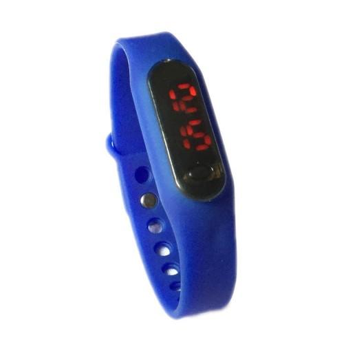 Đồng hồ LED mặt kính mini dây Silicon kiêm vòng tay thời trang - Xanh biển