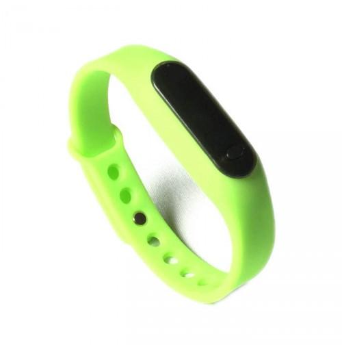 Đồng hồ LED mặt kính mini dây Silicon kiêm vòng tay thời trang - Xanh lá