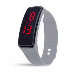 Đồng hồ LED điện tử silicon mặt kính thể thao - Xám