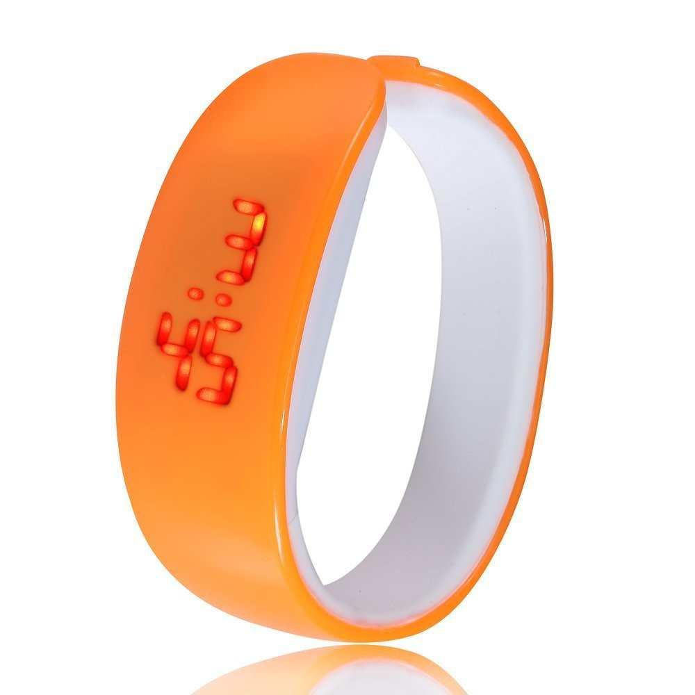 Đồng hồ LED vòng tay Nhựa Silicon thời trang kiểu mới - Cam
