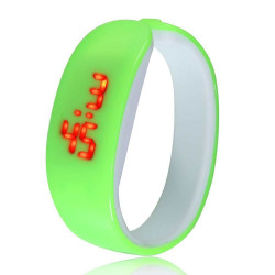 Đồng hồ LED vòng tay Nhựa Silicon thời trang kiểu mới - Xanh cốm