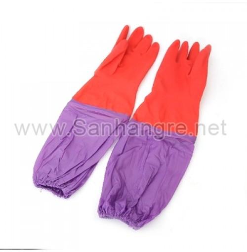 Găng tay cao su lót nỉ 2 lớp bo chun chống tuột