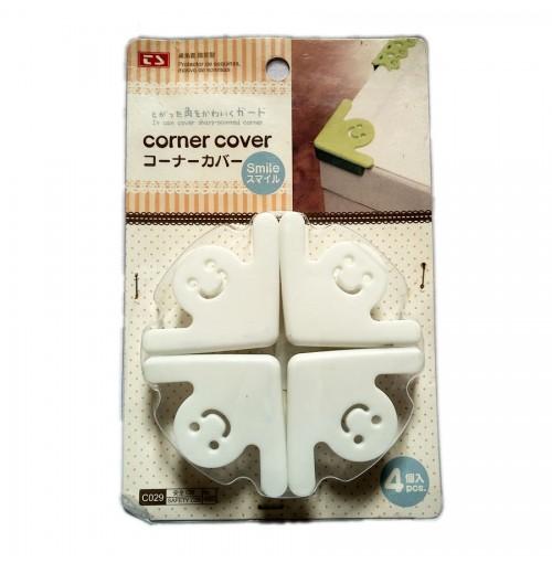 Vỉ 4 miếng nhựa dẻo chặn góc bàn C029-460 hàng Nhật - Trắng