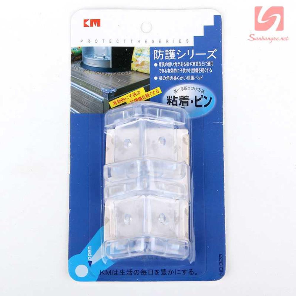 Bộ 4 miếng nhựa trong suốt bịt góc bàn KM 323 hàng Nhật