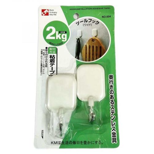 Bộ 2 móc Inox chân nhựa dính tường 2kg KM-604 hàng Nhật