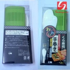 Mành cuộn sushi, cơm, bánh kèm thìa Niheshi 1312 hàng Nhật - Xanh lá