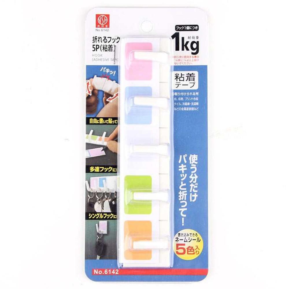 Bộ 5 móc nhựa mini dính tường 1kg Niheshi 6142 hàng Nhật
