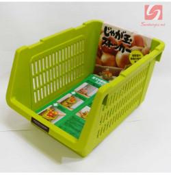 Giá đựng hoa quả, đồ khô có bánh xe Niheshi 6188 hàng Nhật - Xanh lá