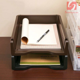 Khay đựng tài liệu A4 xếp chồng Niheshi 6196 hàng Nhật - Nâu