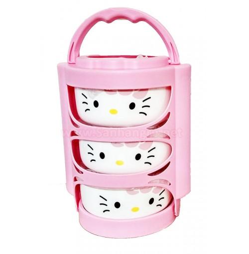 Bộ 3 bát sứ nắp đậy có giỏ xách Hello Kitty