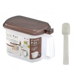 Hộp đựng gia vị Pure Pot kèm thìa Inomata 720ml hàng Nhật (nắp Nâu)