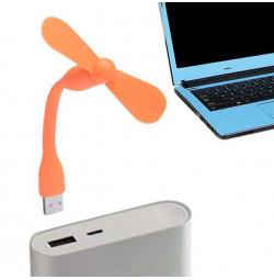 Quạt mini 2 cánh chân cắm USB thân uốn dẻo cực mát - Cam