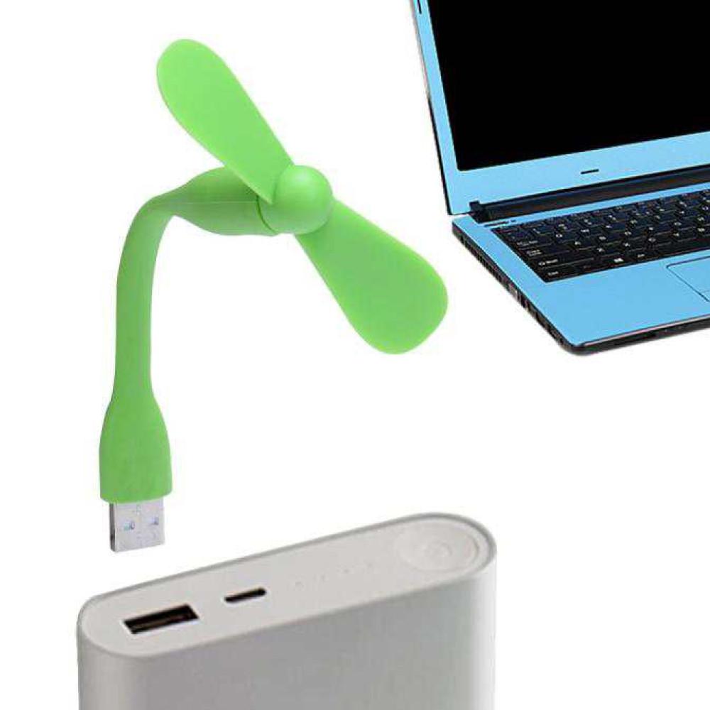 Quạt mini 2 cánh chân cắm USB thân uốn dẻo cực mát - Xanh lá