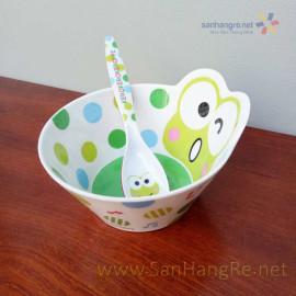 Bộ đồ dùng ăn hình Ếch xanh Keroppi cho bé hàng xuất Nhật 02