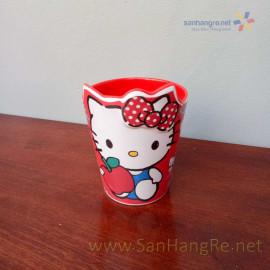 Bộ đồ dùng ăn hình Hello Kitty đỏ cho bé hàng xuất Nhật 02