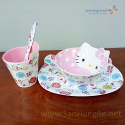 Bộ đồ dùng ăn hình Hello Kitty Milk cho bé hàng xuất Nhật 02