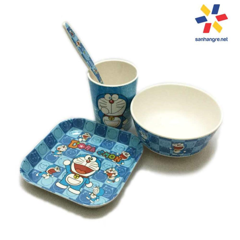 Bộ đồ dùng ăn hình Doraemon cho bé hàng xuất Nhật