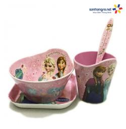 Bộ đồ dùng ăn hình Elsa và Anna cho bé hàng xuất Nhật - Hồng