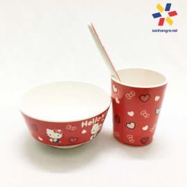 Bộ đồ dùng ăn hình Hello Kitty cho bé hàng xuất Nhật - Đỏ
