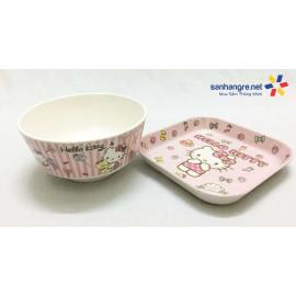 Bộ đồ dùng ăn hình Hello Kitty cho bé hàng xuất Nhật - Hồng