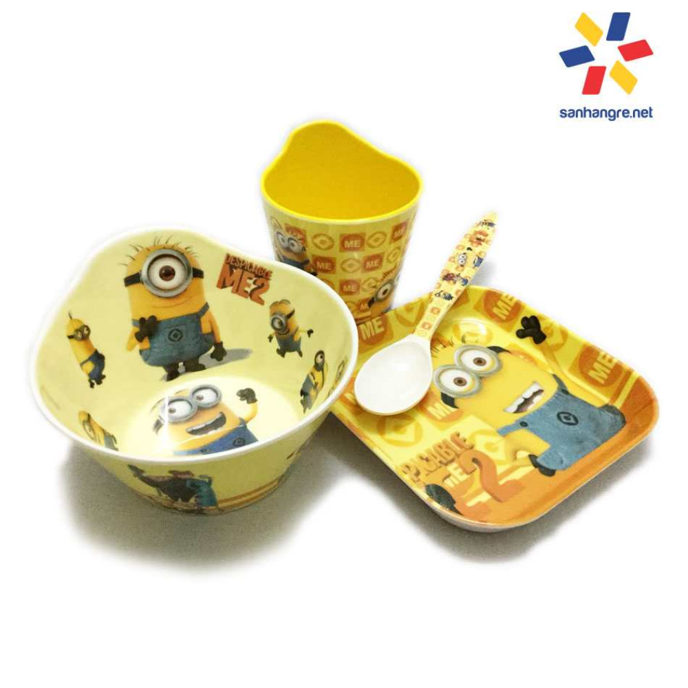 Bộ đồ dùng ăn hình Minions cho bé hàng xuất Nhật