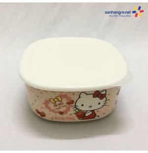 Bát đựng thực phẩm có nắp đậy Hello Kitty hàng xuất Nhật