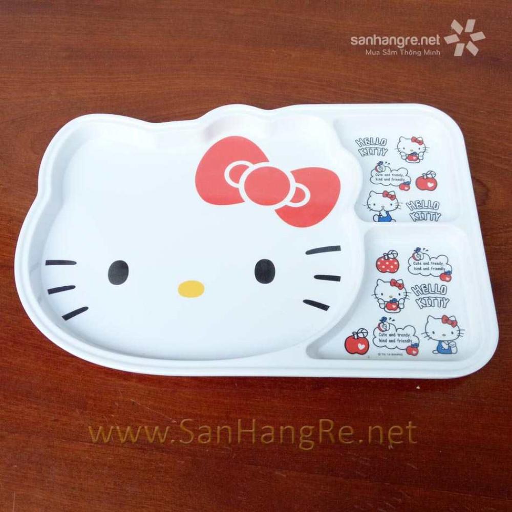 Khay ăn chia 3 ngăn hoạt hình Hello Kitty hàng xuất Nhật