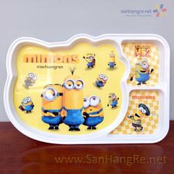 Khay ăn chia 3 ngăn hoạt hình Minions hàng xuất Nhật