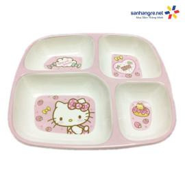 Khay ăn chia 4 ngăn hoạt hình mèo hồng Hello Kitty hàng xuất Nhật