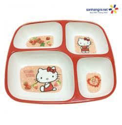 Khay ăn chia 4 ngăn hoạt hình Mèo đỏ Hello Kitty hàng xuất Nhật