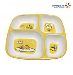 Khay ăn chia 4 ngăn hoạt hình Trứng lười Gudetama hàng xuất Nhật