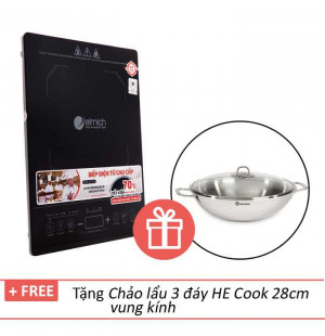 Bếp điện từ cao cấp Elmich ICE-7146 tặng chảo lẩu 3 đáy HE Cook 28cm