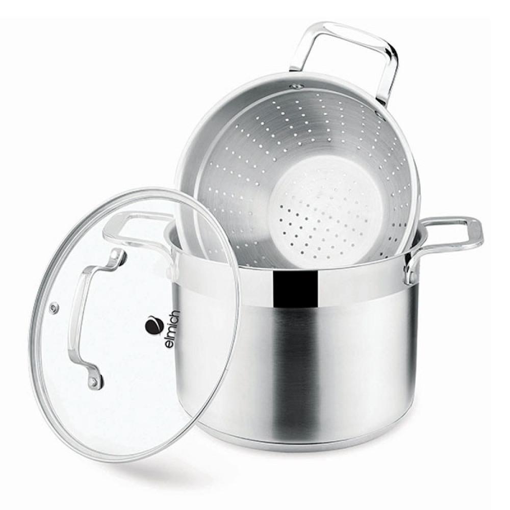 Bộ nồi xửng hấp Inox 304 Elmich EL3360 22cm nắp kính dùng bếp từ
