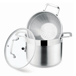 Bộ nồi xửng hấp Inox 304 Elmich EL3361 26cm nắp kính dùng bếp từ, nhập khẩu CH Séc bảo hành 65 tháng