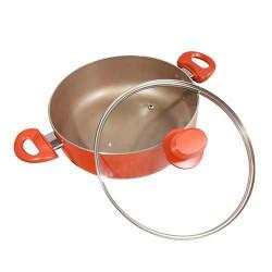 Nồi lẩu tráng sứ Elmich Smartcook vung kính đáy từ 26cm 2355552 - Đỏ