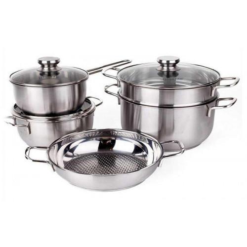 Bộ 5 nồi Inox 3 đáy Fivestar nắp kính dùng bếp từ