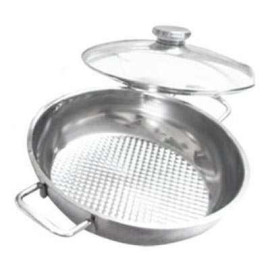 Chảo caro Inox 3 đáy fivestar 24cm vung kính dùng bếp từ