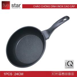 Chảo chống dính Inox 3 đáy Fivestar đường kính 24cm dùng bếp từ hàng chính hãng, bảo hành 5 năm