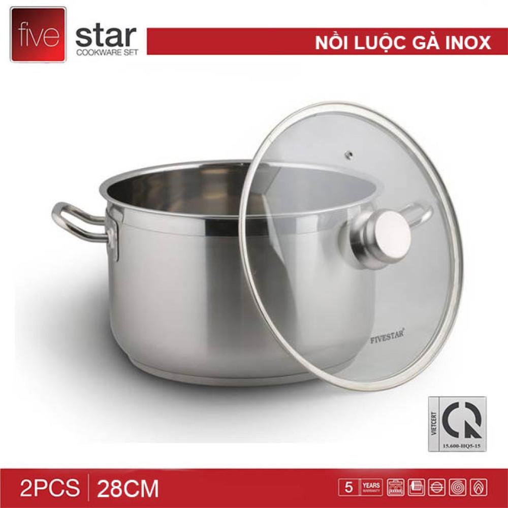 Nồi luộc gà Inox Fivestar 28cm nắp kính - chính hãng Tân Hợp Thành, BH 60 tháng