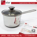 Quánh nấu bột Inox 3 đáy đường kính 12cm Fivestar nắp kính dùng bếp từ chính hãng bảo hành 5 năm
