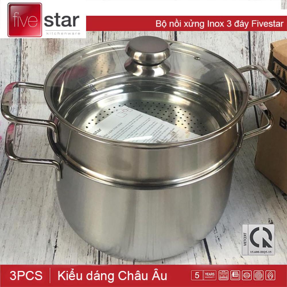 Bộ nồi xửng hấp Inox 3 đáy Fivestar đừng kính 26cm nắp kính dùng bếp từ bảo hành 5 năm