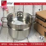 Bộ nồi xửng hấp Inox 3 đáy Fivestar đường kính 24cm nắp kinh dùng bếp từ hàng chính hãng, bảo hành 5 năm