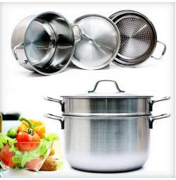 Bộ nồi xửng hấp Inox 3 đáy Fivestar 24cm dùng cho bếp từ