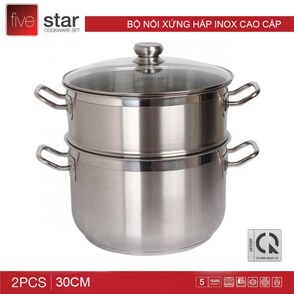 Bộ nồi xửng hấp Inox 3 đáy Fivestar 30cm dùng bếp từ nắp kính. bảo hành 60 tháng